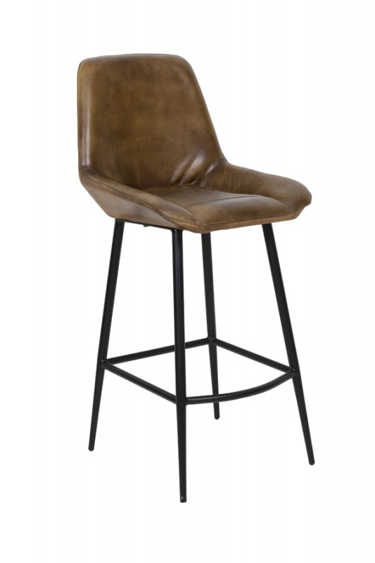 BAR CHAIR STAPLED BROWN LEATHER 105    - CHAIRS, STOOLS